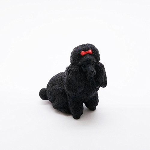 WitnyStore Miniature Dog PooDle Black Cute Figurine Collectibles Resin Dolls Hand Decor -