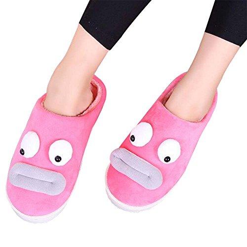 Cartoon Eastlion Lovely Men's amp; Warm Shoes Pink Slipper Winter Cotton Women's Keep HHqaI