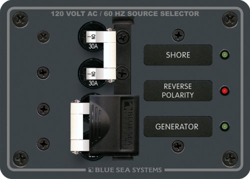 Traditional Metal Panel - 120V AC 30A Toggle Source Selector by Blue Sea Systems