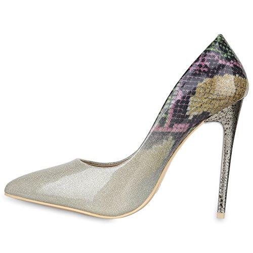 Stiefelparadies Spitze Damen Pumps Stiletto High Heels Lack Glitzer Party Schuhe Denim Snake Velours Elegante Abendschuhe Flandell Gold Brito