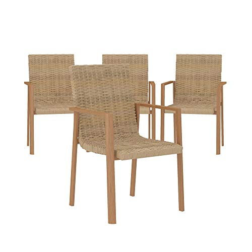 COSCO Outdoor Stacking Dining Patio Chairs, 4-pack, Aluminum, Tan