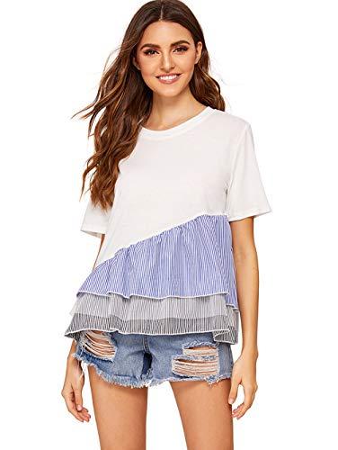 Floerns Women' Short Sleeve Summer T Shirt Peplum Top White M