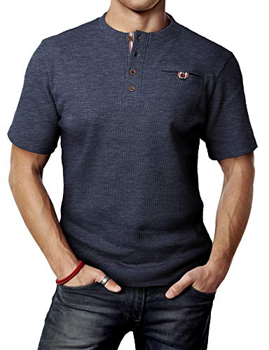 (H2H Mens Premium Fitted Sueded V-Neck Tee HEATHERNAVY US L/Asia XL (CMTTS0147))