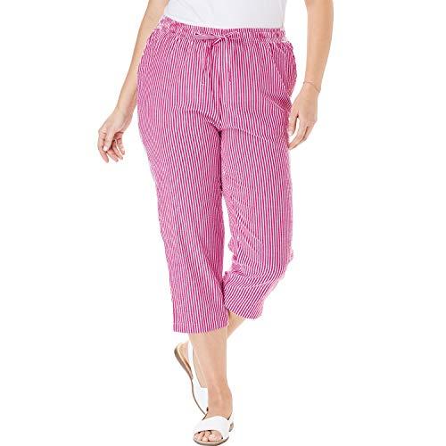 (Woman Within Women's Plus Size Petite Seersucker Capri Pant - Bright Berry Stripe, 24 W)