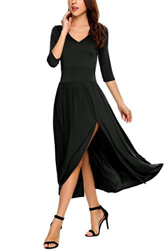 Zeagoo Women's V-Neck 3/4 Sleeve Empire Waist Split Wrap Front Maxi Dress