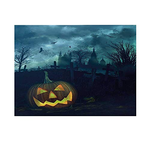 Halloween Photography Background,Halloween Pumpkin in Spooky Graveyard Eerie Gloomy Stormy Atmosphere Backdrop for Studio,7x5ft -