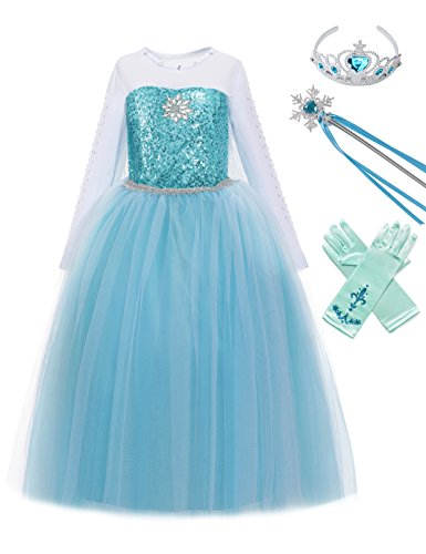MUABABY Girls Ice Snow Queen Sequin Princess Upgrade Deluxe Costume Long Sleeve Elsa]()