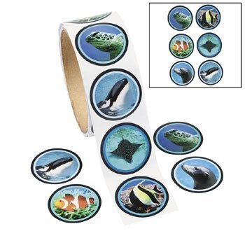 1 Roll ~ Ocean Life Roll Stickers ~ 100 Stickers / Approx. 1
