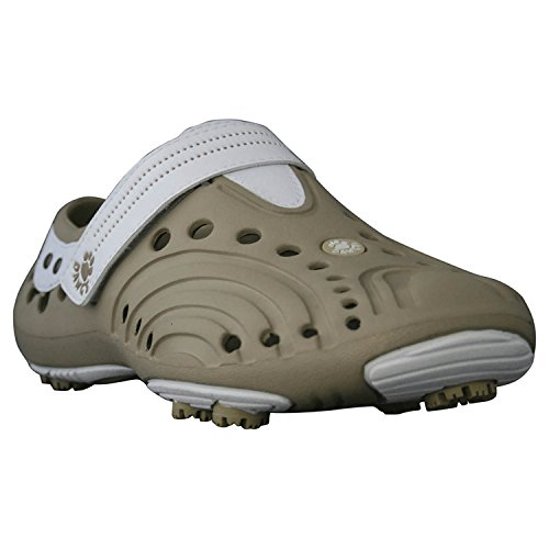 Girls' Dawgs Lightweight Spirit Golf Shoes Tan with White Si