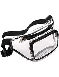 Fanny Pack, Veckle Clear Fanny Pack Waterproof Cute Waist Bag Stadium Approved Clear Purse Transparent Adjustable Belt Bag for Women Men, Travel, Beach, Events, BTS Concerts Bag, Black