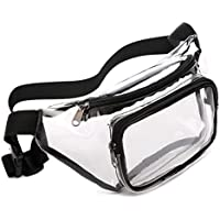 Fanny Pack, Veckle Clear Fanny Pack Waterproof Cute Waist Bag NFL Stadium Approved Clear Purse Transparent Adjustable Belt Bag for Men, Women, Travel, Beach, Events, and Concerts, Black
