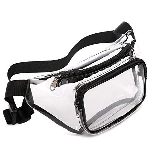Fanny Pack, Veckle Clear Fanny Pack Waterproof Cute Waist Bag NFL Stadium Approved Clear Purse Transparent Adjustable Belt Bag for Women Men, Travel, Beach, BTS Concerts Events, ()