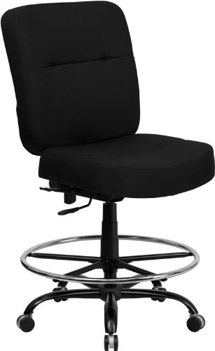 Flash Furniture HERCULES Series Big & Tall 400 lb. Rated Black Fabric Ergonomic Drafting Chair with Rectangular Back by Flash Furniture