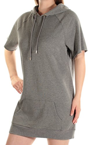 kensie Women's Faded Fleece Sweatshirt Hoodie Dress, Heather Ash, M
