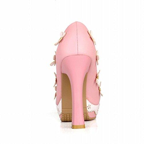 Latasa Dames Lolita Schattig Applique Bloemen Platform Hoge Hak Jurk Pumps Schoenen Roze