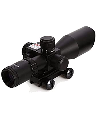 AOTOP Tactical Red Laser Rifle Scope 2.5-10x40 Dual Illuminated Mil-dot with Rail Mount for Hunting AR15 22mm Weaver/Picatinny Rail Mount