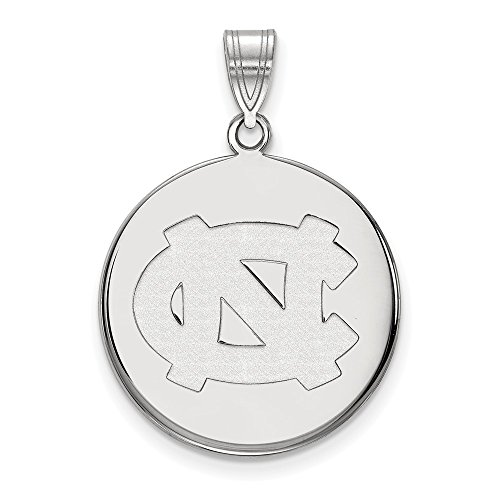 10k White Gold North Carolina Tar Heels School Letters Logo Disc Pendant L - (22 mm x 21 mm)