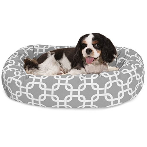 (24 Inch Gray Links Sherpa Bagel Dog Bed)