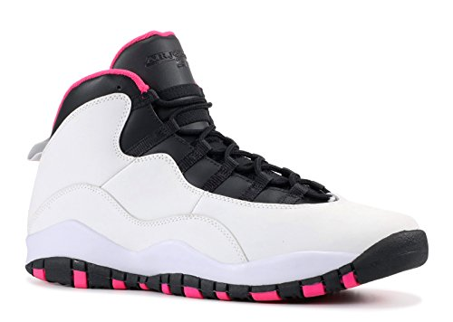 Jordan Air 10 Retro (GS) Girl's Shoes Pure Platinum/Vivid Pink/Black 487211-008 (4.5 M US)