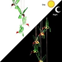 Solar Color-Changing Mobile Wind Chime LED Light Bird Type Hanging Light Lamp Hummingbird Windchime Home Party Garden Decoration (Colorful)
