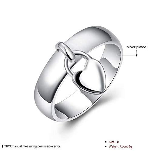 Sterling Silver Women's Dangling Heart Charm Ring Jewelry Shiny Hanging Heart Lock Shape Silver Plated Sizes 8