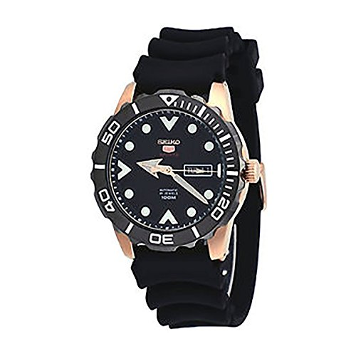 Seiko-5-Sports-SRPA12-Mens-Rose-Gold-Tone-Black-Rubber-Band100M-Automatic-Watch