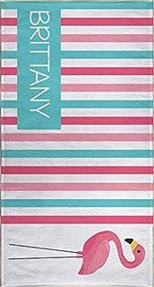 Pink Flamingo Beach Towel, Personalized Beach Towel for Kids, Pink Flamingo Stuff for Kids