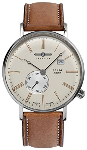 Zeppelin LZ120 Rome Swiss Quartz Watch 41mm Case Beige Dial R.Gold digits 7134-5