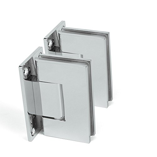 (SUNNY SHOWER 1 Pair (2 hinges) 90 Degree Frameless Pivot Shower Door Hinge, Wall-to-Glass, Stainless Steel Polished Chrome )