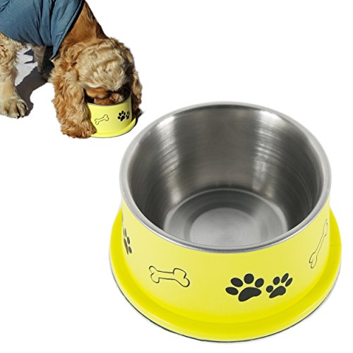 PETish SPANIEL BOWL for LONG EAR Dog - ERGONOMIC Personalized Custom Design BOWLS, NO Tip STAINLESS Dish (Medium ( 17oz - 6.3 x 5.3 x 3.0inch ), Banana Yellow) (Dog Bowls Trendy)