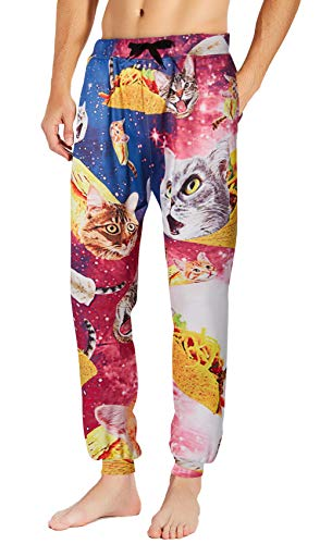 Loveternal Taco Cat Sweatpants for Mens Gym Running Sport Lounge Joggers Teen School Funny Party Track Pants Crazy Food Sweatpants Parachute Jogging Pants with Drawstring Purple S