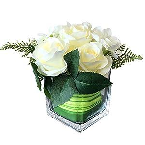 Fule Artificial Silk Rose Flower Centerpiece Arrangement in vase for Home Wedding Decoration (Creamy White) 3