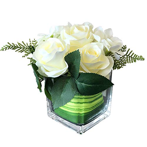 Fule Artificial Silk Rose Flower Centerpiece Arrangement in vase for Home Wedding Decoration (Creamy White)