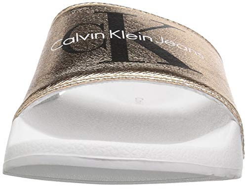 Chantal White Heavy Gold Klein Canvas Sandal Calvin Rose Open Toe Women's v75CHCxqw