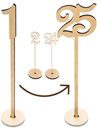 Merry Expressions - Wooden Wedding Table Numbers 1-25 Pack - 13.5
