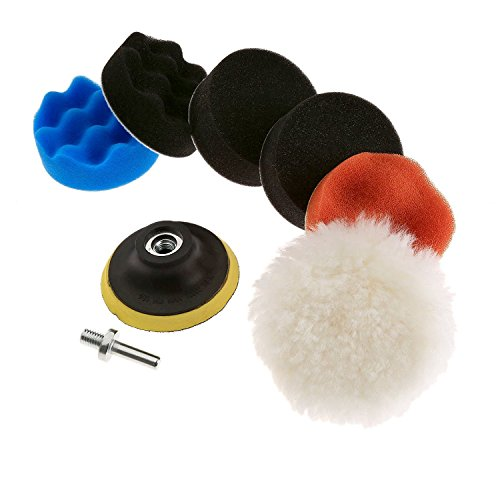 CATUO 7pcs 3 inch Auto Car Polishing Waxing Foam Sponge Pad Polisher Buffer Set With Drill Adapter Kit