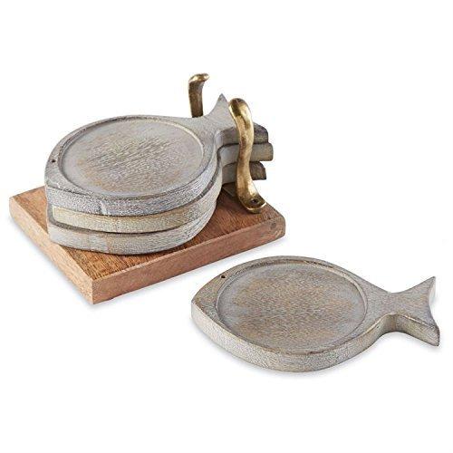 Whitewashed Fish Shaped Coasters with Holder 5 Piece Set Mango (Shaped Coasters)