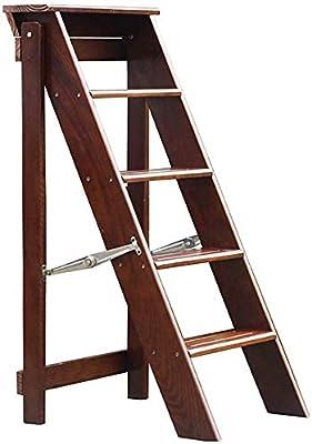 GBX Taburete Plegable Fácil Y Multifunción Conveniente, Escalera Plegable Escalera de 5 Escalones Taburete Escalonado de Madera Maciza Silla de Escalera de Madera Biblioteca de Cocina para el Hogar A: Amazon.es: Bricolaje