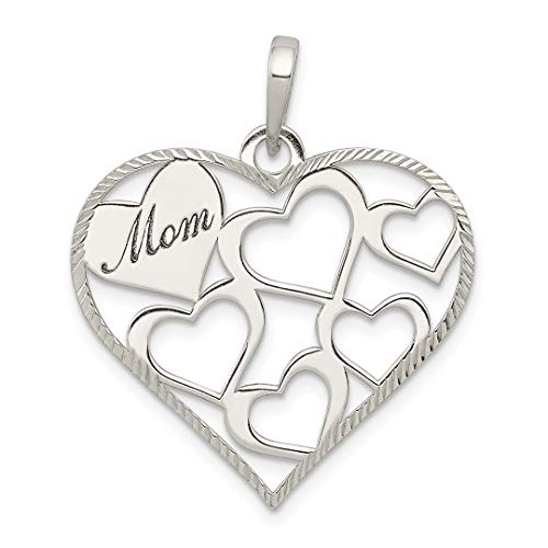 925 Sterling Silver Textured Mom Engraved Heart Pendant, used for sale  Delivered anywhere in Canada