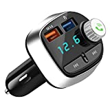 Bluetooth FM Transmitter, Nutmix In-Car Radio Adapter Handsfree Car Kit with Dual USB Charging Ports, Support USB Flash Drive,TF Card, Car MP3 Player, for iPhone, iPad, Samsung, Huawei, etc.