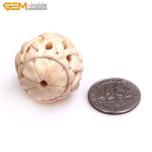 - Calvas Handmade Round Hollow Carved Lantern Shape Black Cream Natural OX Bone Beads for Jewelry Making Bracelet Necklace DIY Bulk Gem-i - (Color: 23x25mm 2 pcs)