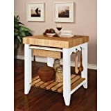 Powell Color Story Pure White Butcher Block Kitchen Island