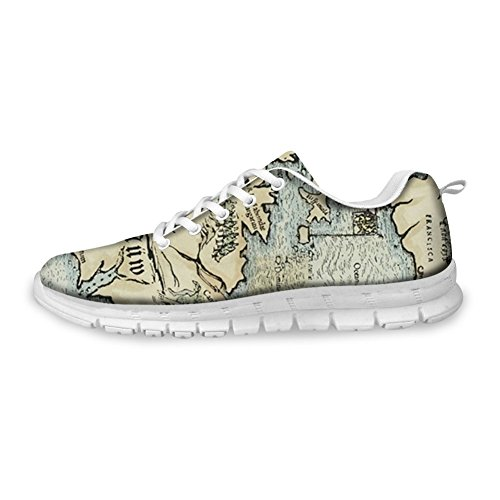 Bigcardesigns Moda Donna Design Scarpe Da Corsa Sneakers Lace Up Mappa Retrò
