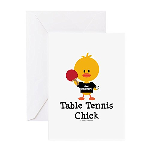 CafePress Table Tennis Chick Greeting Card, Note Card, Birthday Card, Blank Inside Glossy