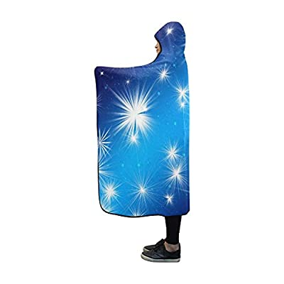 VNASKL Hooded Blanket Christmas Star Advent Golden Bright Blanket 60x50 Inch Comfotable Hooded Throw Wrap