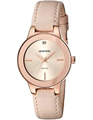 Armitron Women's 75/5410RSRGBH Diamond-Accented Rose Gold-Tone and Beige Leather Strap Watch