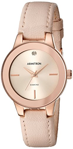 Armitron Women's 75/5410RSRGBH Diamond-Accented Rose Gold-Tone and Beige Leather Strap (Beige Leather Strap Watch)