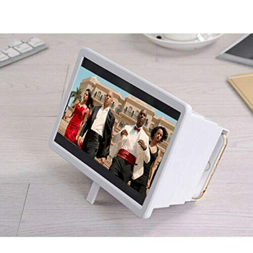 Koconh Portable 3D Video Enlarge Smartphone Screen Magnifier Amplifier Clear Universal (White, 2pcs)