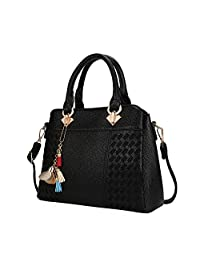 IBFUN Women Handbags Top Handle Bags with Tassel Flower Decoration PU Leather Shoulder Bags Satchels Tote Bags Ladies Purses Black