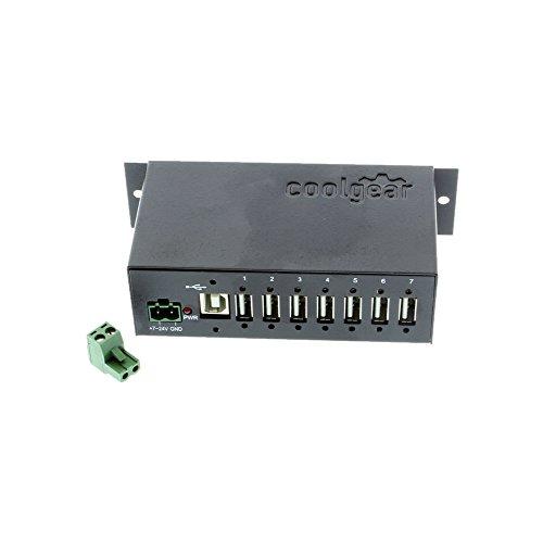 Coolgear Metal 7-Port USB 2.0 Hub w/DIN Rail Mounting Kit Japan NEC Chip